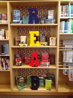 READ display with color-coordinated books