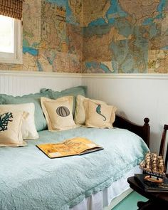 Use antique maps for wallpaper