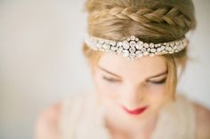 Rhinestone headpiece | Photo by Tyme Photography | Read more - http://www.100layercake.com/blog/?p=77288 #bridal #headpiece #braids