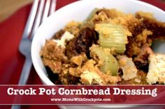 Add some interesting flavors to your classic slow cooker stuffing recipe with this recipe for Potato Chip Cornbread Dressing. Whether you serve this dish for Thanksgiving, Christmas or another event, it is sure to be a hit.9