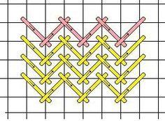 Herringbone - Needlepoint Teacher  Change your thread colors for great shading!