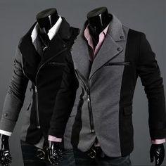 Moto Style Men Zip Jacket