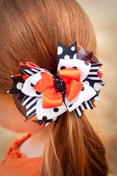 SALE Polka Dot Halloween Combo Bow Boutique Bow by kinleykate, $11.95
