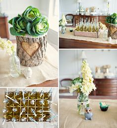 shower ideas, tree stumps, vintage party, baby shower themes, floral designs, babi shower, vintage inspired, parti, baby showers