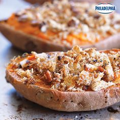 These Praline Whipped Sweet Potatoes are a sweet and simple dish, and the crunchy topping perfectly complements the tender, baked sweet potato; it makes a great take-along for a fall potluck, making this dish a winner!
