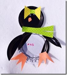 paper plate and doily penguin craft