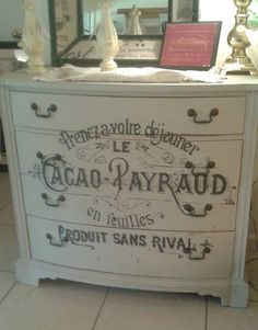 Refinished hand painted dresser....shabby chic decor! I would want the writing on it to say something different though. Chic Decor, Dressers Shabby Chic, Chic Dresser, Shabby Chic Log Cabin Decor, Painting Dressers Shabby, Recycled Dressers, Boutique French Decor, Dressers Options, Distressed White