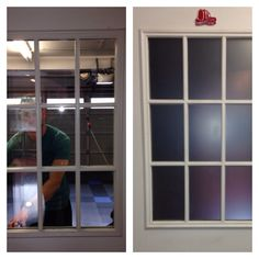 @plasti Dip privacy glass for garage door. Project cost $10. Easy solution for renters without making permanent and expensive changes