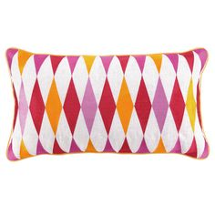 Embroidered linen pillow with diamond motif