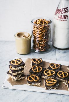 Peanut Butter & Pretzel Bars from Top with Cinnamon