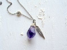 1983  Purple Amethyst Necklace Raw Gemstone Jewelry by REBELbyFATE
