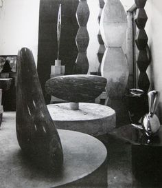 Brancusi  Paris Studio 1920  http://www.pinterest.com/jesusmartinez/constantin-brancusi/ Brancusi's aligned rhomboids decorated initially traditional Romanian sculpted house pillars,clothes & was also found at Cuina Turcului - oldest Carpathian civilization (10.650 BC) www.pinterest.com/pin/533958099544136695/  http://www.pinterest.com/pin/533958099544137345/
