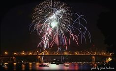 Fireworks over the Cass Street Bridge...Mississippi River...La Crosse Wisconsin. www.justintrails.com