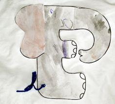 Animal Alphabet Art- E is for Elephant