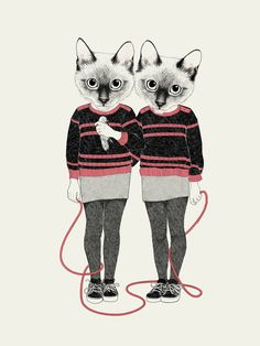 """""""siamese twins"""" Art Print by Laura Graves on Society6."""