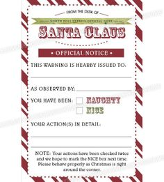 Elf on the Shelf Naughty or Nice Checklist