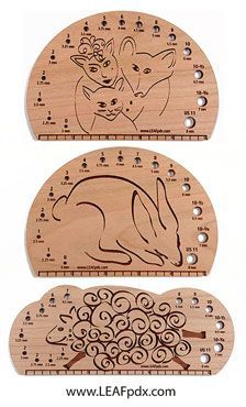 Aren't these fantastic Knitting Needle Gauges?!!  Cool design and made out of wood.  Love, love, love!!  $15.00  From Leafpdx.com