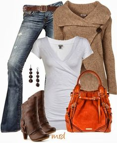 Casual Fall Outfit With Brown Cardigan jean, sweater, boot, bag, fall outfits