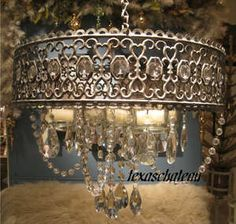 SHABBY-FRENCH-COTTAGE-CHIC-JEWELED-BEADS-DROPS-SILVER-CANDLE-CHANDELIER-