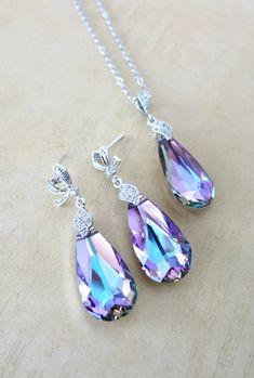 Jewelry Set - Swarovski Vitrail Light Purple Teardrop Crystal Necklace and Earrings, Cubic Zirconia Necklace, Bridal, Bridesmaids, www.glitzandlove.com, by GlitzAndLove