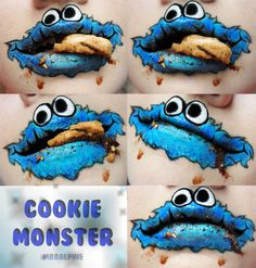 cookie monster, makeup geek, cooki monster, lip art, face paint, facepaint, lipstick, monsters, halloween