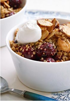 Sweet Cherry Crisp — Thrill your dinner guests with individual servings of this dessert -- topped with a brown sugar-and-oat crumble and baked in ovenproof mugs.