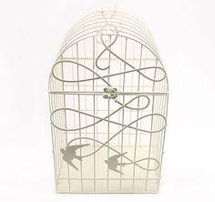 Modern Decorative White Birdcage with Birds in Flight #theweddingoutlet