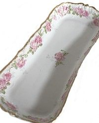Antique 19th Century French Redon Limoges Pink Roses Serving Tray antiqu porcelain, antiqu china