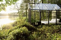 A bed of greenery surrounds this magical glass-walled shed on an island in Finland.