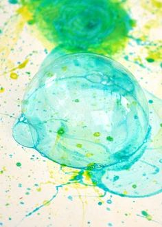 Bubble Art Craft: Mix some bubble solution with a little food coloring & let the kids blow away. The bubbles themselves don't really have any color, but when they pop on a white piece of paper that is when the magic happens.