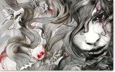 watercolor paintings, painting art, computer art, magazin, gabrielmoreno, artist, portrait, flower hair, gabriel moreno
