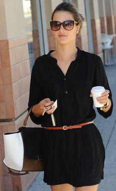 Black shirt dress + skinny belt.