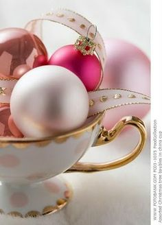ornaments as table decorations. love it! christmas time, holiday gift, pink christmas, teas, christmas decorations, ribbon, holidays, christmas ornaments, teacup