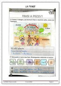 Lingua italiana in classe seconda: la frase