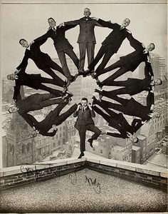 Man on Rooftop with Eleven Men in Formation on His Shoulders, Unknown Photographer, 1930