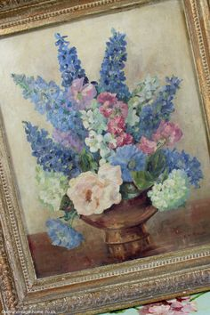 1940s Oil Painting of Delphiniums and Roses hangs in the Dining Room