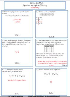 5th Grade Common Core Math Operations and Algebraic Expressions 102 math problems with answer keys- Homework or Morning Work!!