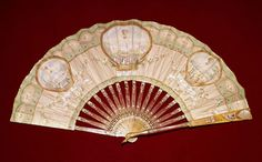 Vintage Fan: 18th Century French c1785 - skin mount painted with early balloning scenes , sticks of red lacquer by CharmaineZoe, via Flickr