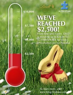 Thank you to all who have been participating in Lindt's #Pin4Autism initiative.  We've reached 25% of our goal!  We have until Easter, so share with your friends and family and make a difference with a click of a button.  Learn how you can #Pin4Autism by visiting http://blog.lindtusa.com/pin4autism