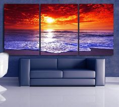 LARGE 30x 60 3 Panels Art Canvas Print Beach Sunset Wall (Included framed 1.5 depth)