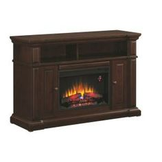 Hampton Bay Chatham 56 in. Media Console Electric Fireplace in Mahogany-82315 at The Home Depot