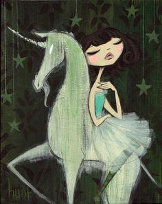 unicorn artwork, gothic art, fantasi art, krista huot