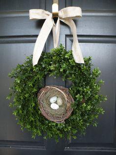 All Season Boxwood Wreath with Robin's Egg Nest by Daulhouseshop