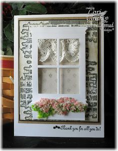 Love the flower soft in the window box paper craft, lace curtains, window die, saintsrul, door, window card, flower soft, cards, window boxes