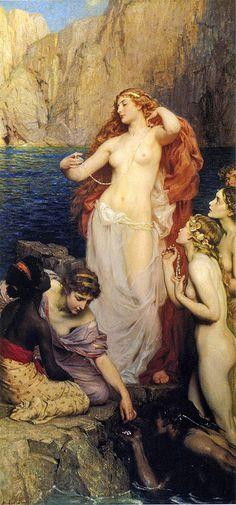 """Herbert James Draper, """"Pearls of Aphrodite""""en la mitología griega, la diosa de la lujuria, la belleza, la sexualidad y la reproducción. Aunque a menudo se alude a ella en la cultura moderna como «la diosa del amor», es importante señalar que normalmente no era el amor en el sentido cristiano o romántico, sino específicamente Eros (atracción física o sexual). Su equivalente romana es la diosa Venus."""