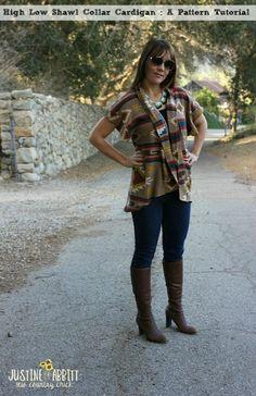 cardigan pattern, low shawl, cardigan sewing tutorial, collar cardigan, shawl collar, collars, cardigan tutori, high low, diy shawl