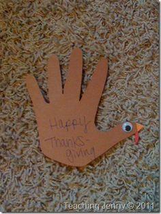Handprint Turkeys – Thanksgiving Place Cards