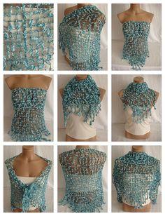 Hand crocheted turquoise white magic shawl $49.00