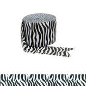 Little girl birthday party - animal print theme - Zebra Print Crepe Streamer 81ft