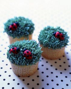 """.:* L -Ladybug Cupcakes - Martha Stewart Recipes [""""Cheery marzipan ladybugs nestled in a piped buttercream lawn make adorable cupcakes. Makes 24. Ingredients: Yellow Buttermilk Cupcakes; Swiss Meringue Buttercream; Green, red, and black gel-paste; food colors 7 ounces marzipan; Cornstarch, for work surface.""""]"""